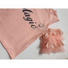 "Tricou Roz somon ""Magic"" cu maneci dantela si tiul"
