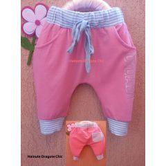 Pantalon ROZ cu tur, model trei sferturi