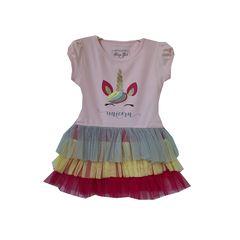 Rochita Unicorn cu volanase multicolore