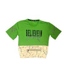 Tricou scurt cu efect reflectorizant, verde