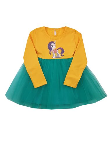 Rochita Pony Unicorn galben cu tiul turquaz