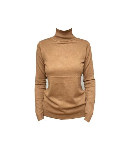 Helanca fete, tip pulover moale, maro camel