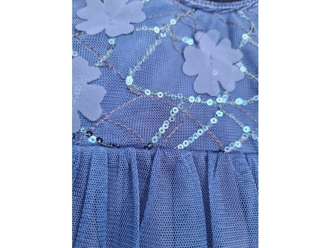 Rochita eleganta din catifea si tiul bleumarin